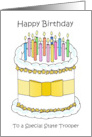 Happy Birthday to State Trooper Cartoon Cake and Candles card