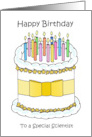 Happy Birthday to Scientist Cartoon Cake and Candles card