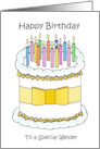 Happy Birthday to Welder Cartoon Cake and Candles card