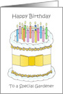 Happy Birthday to a Special Gardener Cake and Candles card