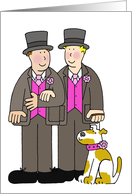 Gay Wedding Two grooms and a dog. card