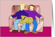 Gay Male Couple Anniversary, Two Men with their with Pet Dog. card