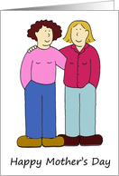 Gay/Lesbian Mother's Day, Two Mothers, Cartoon Couple. card