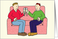 Gay Anniversary for Wonderful Partner, Cartoon Male Couple. card