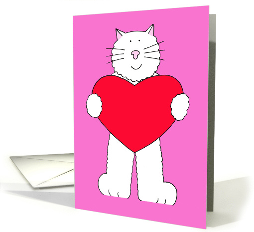 Happy Valentine's Day from the Cat, Cartoon Cat Holding a Heart. card