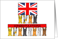 UK Citizenship Congratulations with Cartoon Cats and Union Jack Flag card