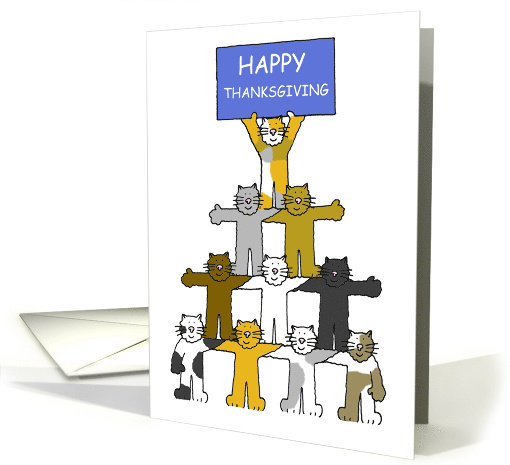 Happy Thanksgiving Cartoon Cats Holding up a Banner card (1183868)