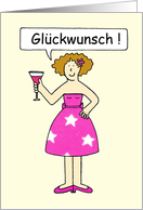 German Congratulations, Cartoon Lady on a Cake. card