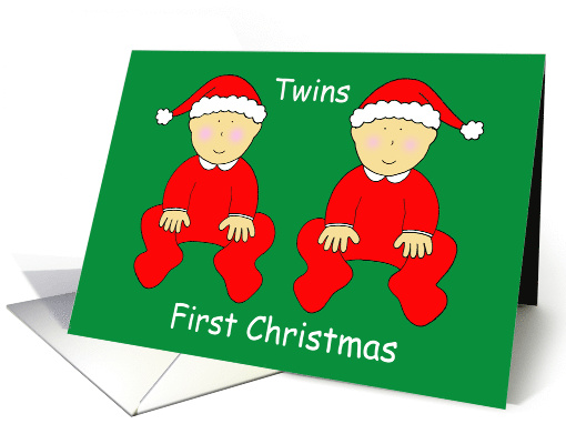 Twins First Christmas, Cute Babies in Santa Outfits. card (1201912)