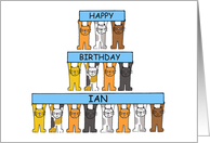 Happy Birthday Ian, Cartoon Cats Holding Banners. card