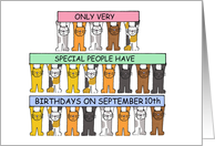 September 10th birthdays celebrated by cats. card