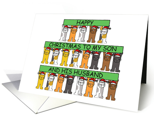 Happy Christmas to My Son and His Husband Cartoon Cats card (1298018)