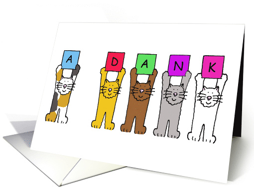 Yiddish Jewish Thank You fun Cartoon Cats Holding Letters Up card