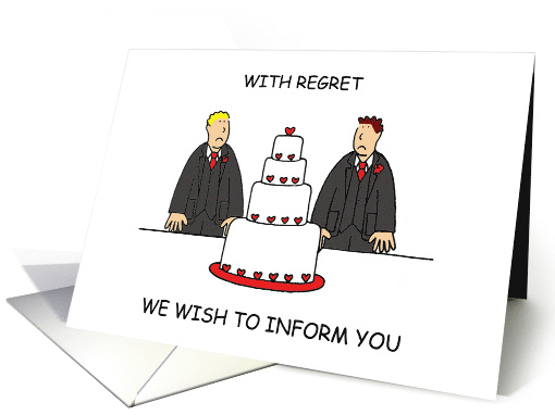 Civil Union or Wedding Cancellation, Cartoon Male Couple. card