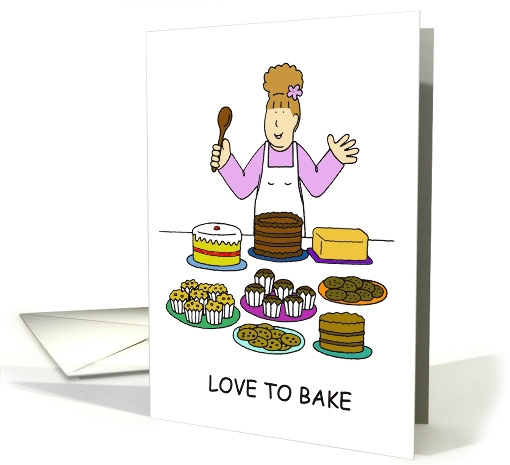 Love to Bake Bake Sale Invitation Cartoon Lady and Cakes card