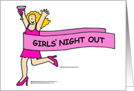 Girls' night out, lady in pink. card