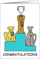 Congratulations on Dog Show Success Cartoon Dogs with a Trophy card
