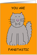 Happy Halloween Cat you are fangtastic card
