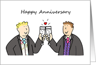 Happy Anniversary, Two Grooms, Civil Union or Wedding Congratulations. card