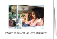 Off to college party invitation, girls having fun. card