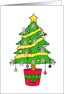 Pink Ribbon Breast Cancer Support, Christmas Tree. card