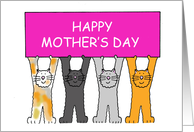 Happy Mother's Day from the Cats, Cartoon Kittens Holding a Banner. card