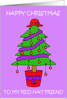 Red Hat Friend Cartoon Christmas Tree. card