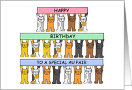 Happy Birthday Au Pair Cats. card