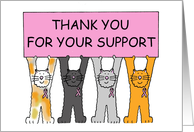 Thanks for Your Support, Cartoon Cats Wearing Pink Ribbons. card