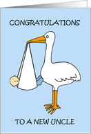Congratulations New Uncle Cute Baby Boy and Cartoon Stork card