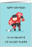 Happy Birthday, Ice Hockey Player in Action, Cartoon Sportsman. card