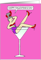 Valentine for Red Hat Lady, Fun Woman in Cocktail Glass. card