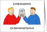 Congratulations to new parents gay male couple. card