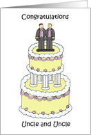 Gay Uncle Wedding Congratulations grooms on a stylish cake. card