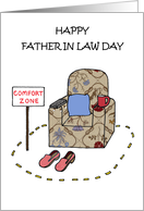 Happy Father in Law Day Cartoon Armchair Comfort Zone card