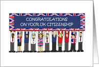 UK Citizenship Congratulations Cartoon People and Union Jack Banner card