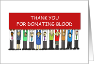 Thank You for Donating Blood Cartoon Group of People card