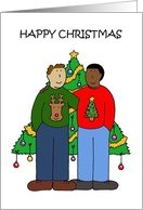 Gay Male Multiracial Couple, Happy Christmas. card
