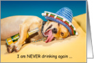 National Hangover Day January 1st Funny Dog with Beer. card