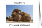 Happy Birthday for Farmer, Funny Straw Covered Tractor. card