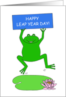 Happy Leap Year Day, Cartoon Frog with a Banner on a Lily Pad. card