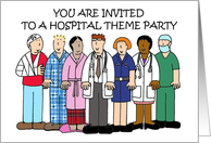 Invitation to Hospital Theme Party Cartoon Medical Stff and Patients card