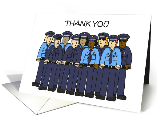 Covid 19 Thank You to Police Force, Cartoon Group. card (1626258)