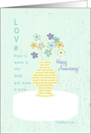 Love Never Fails, Happy Anniversary, Scripture: I Corinthians 13:4-8 card