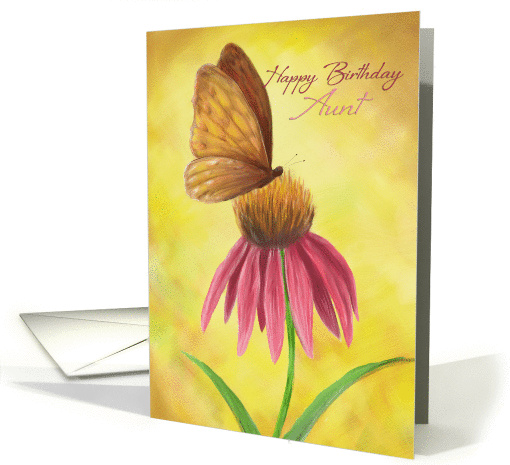 Happy Birthday Aunt, pink floral with butterfly card (1131672)