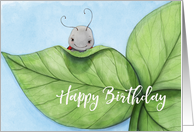 Birthday Love Bug Cute Illustration with Leaves card