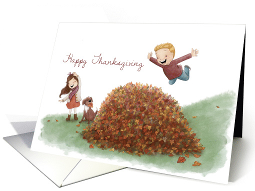 Happy Thanksgiving, Leaf Pile with Kids card (1636052)