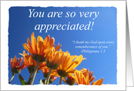 You Are Appreciated - Orange Flowers card