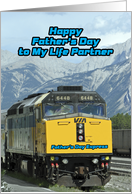 Happy Father's Day, to Life Partner, Railroad, Train card