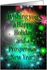 Happy Holiday and Prosperous New Year Fireworks Celebration Card